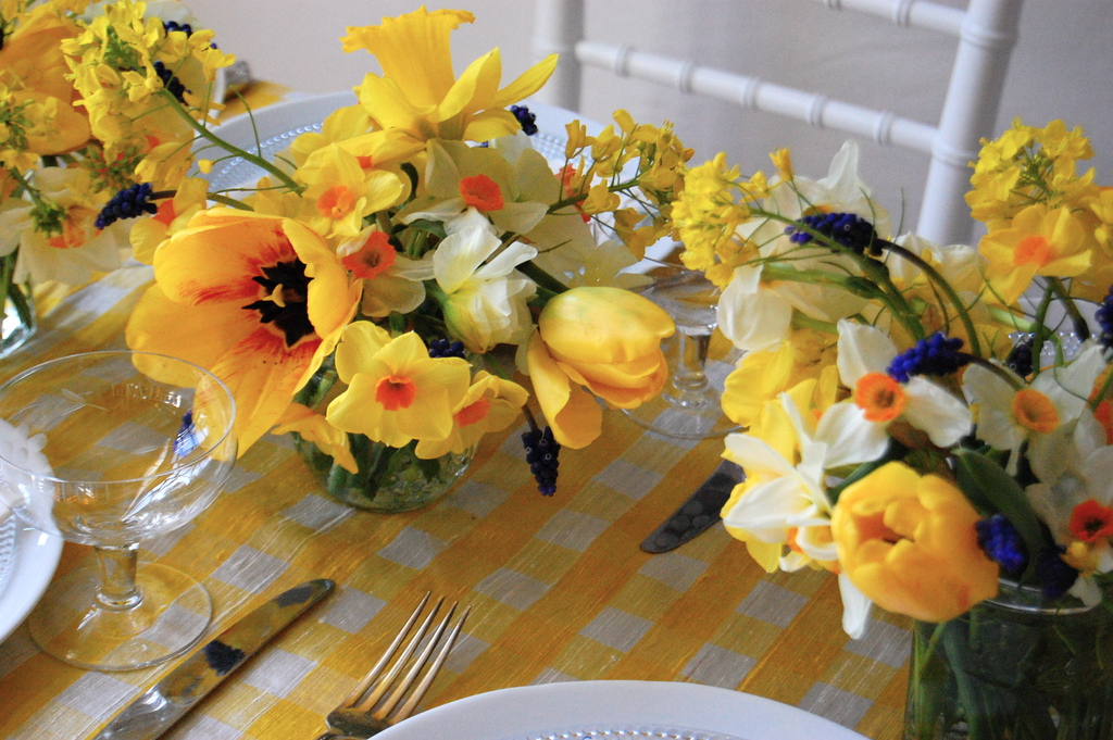 Bright Wedding Tablescape Daffodil Centerpieces