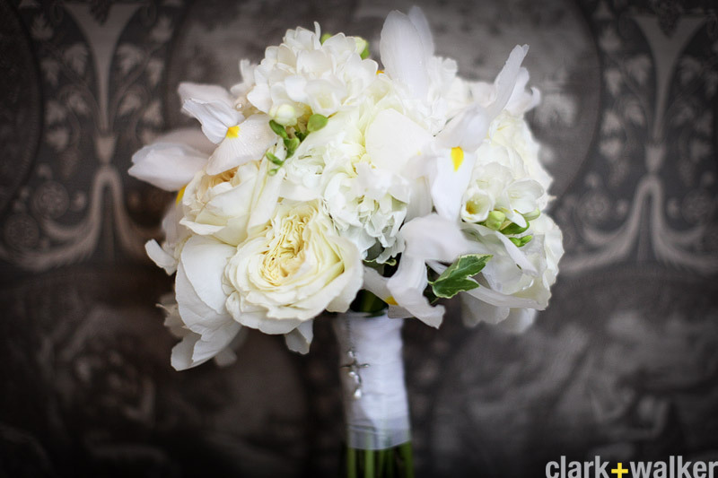 White Bridal Bouquet with Iris and Peonies