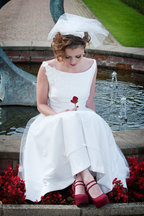 1950s inspired bridal style short wedding dress with red shoes