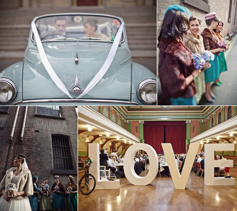 Retro-1950s-inspired-wedding-with-mix-and-match-bridesmaids.full