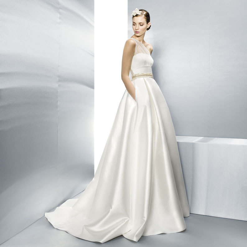 Jesus Peiro Wedding Dress One Shoulder Sheer with Pockets 3000