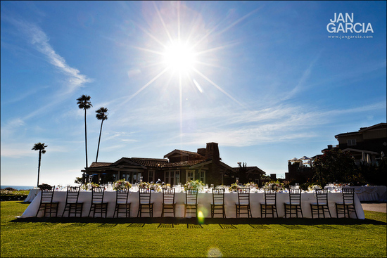 Outdoor Wedding Reception with Long Banquet Tables