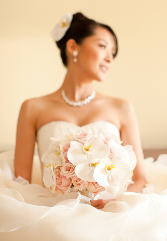 Gorgeous White Orchid Blush Roses Bridal Bouquet