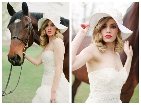 Equestrial Wedding Inspiration Bright Coral Lips