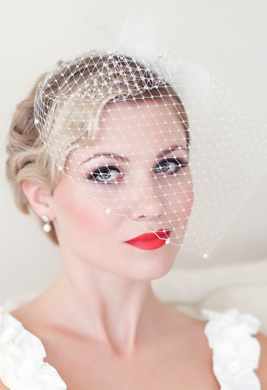 Matte Red Lips on Beautiful Vintage Bride