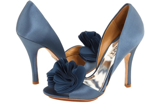 Blue Wedding Shoes for Under 200 slate satin with floral accent
