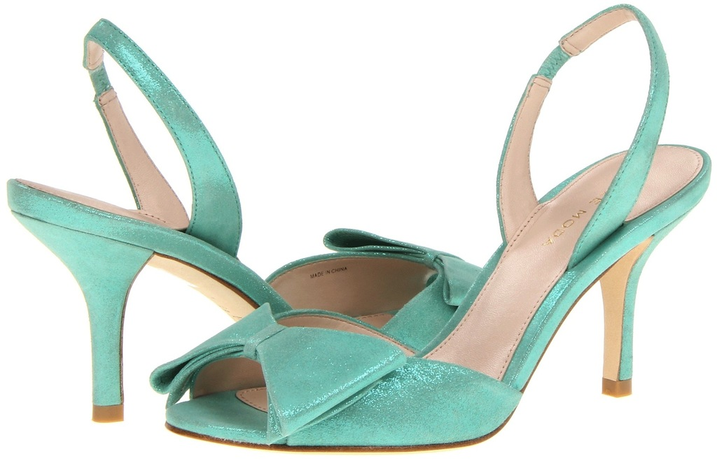 Blue Wedding Shoes for Under 200 Aqua Shimmer with medium heel