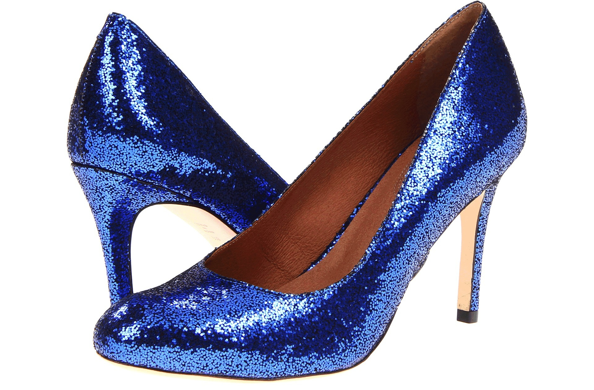 Glittery Blue Wedding Shoes With Gold Heels
