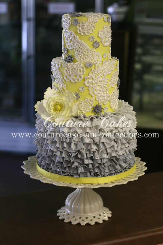 grey and yellow ruffles and lace