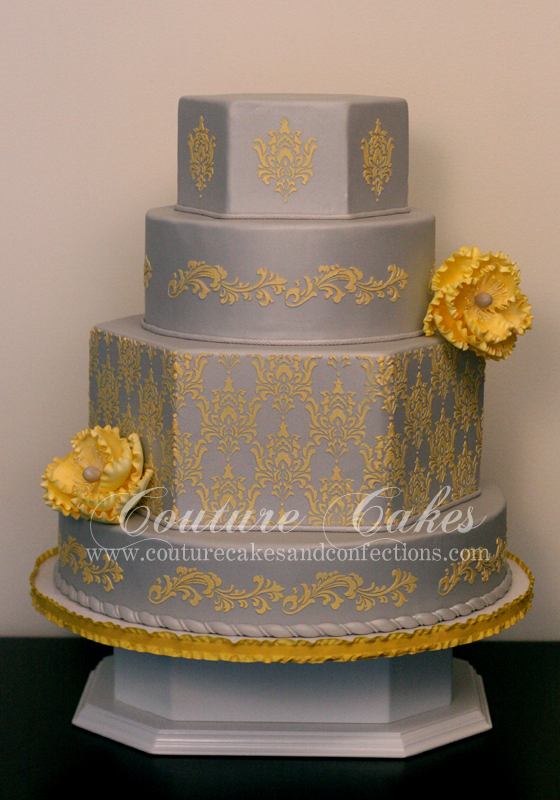 Grey and Yellow Damask