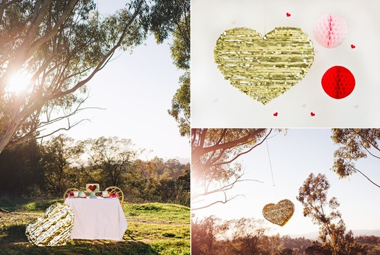 Valentines Day Wedding DIY Gold Pinata