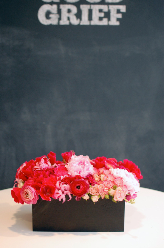 Valentines Day Wedding Ideas Red Pink Centerpiece