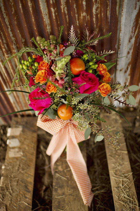 Unique Bridal Bouquet featuring orange clementines