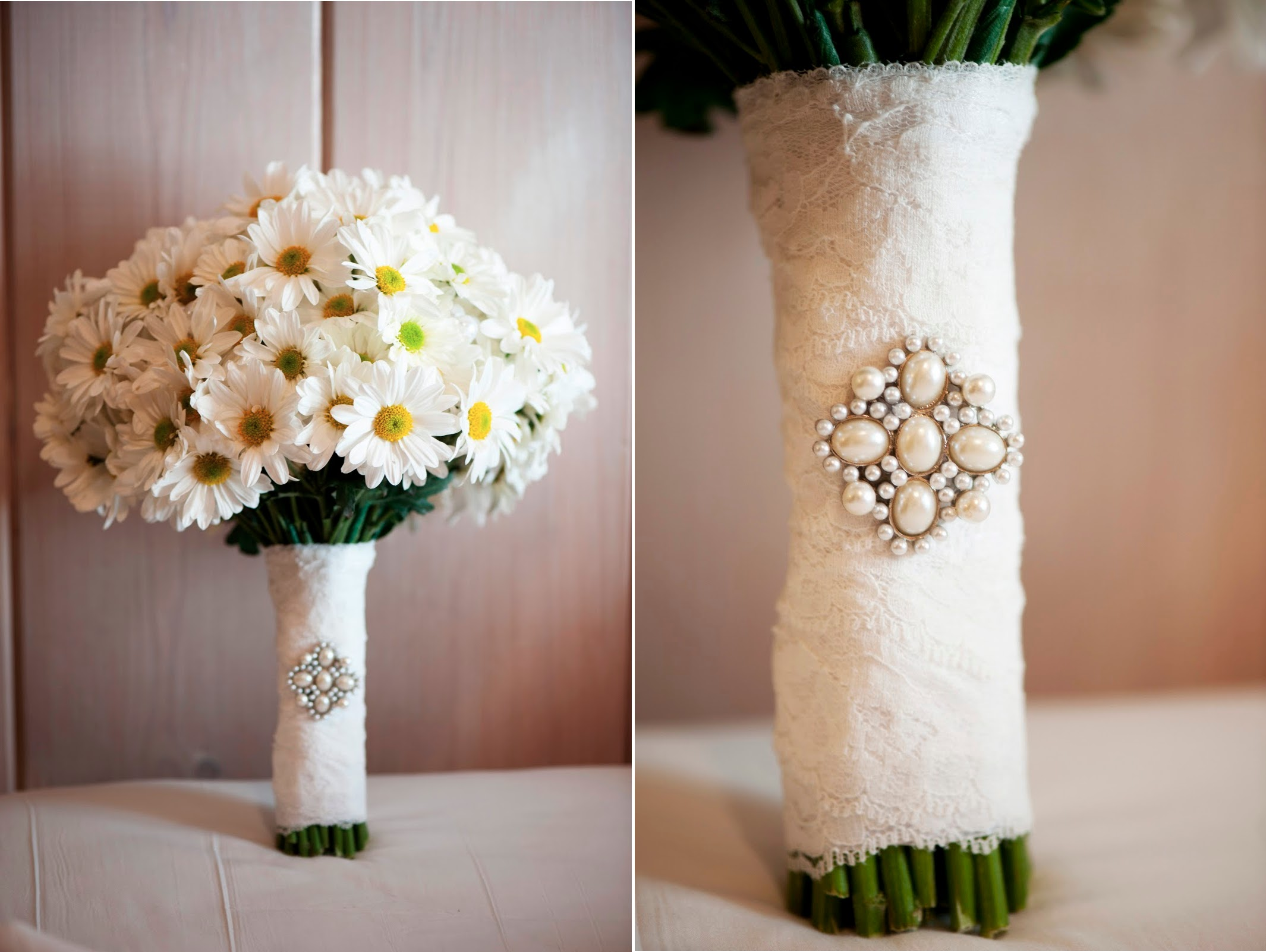 Simple Daisy Wedding Bouquet Wrapped In Lace