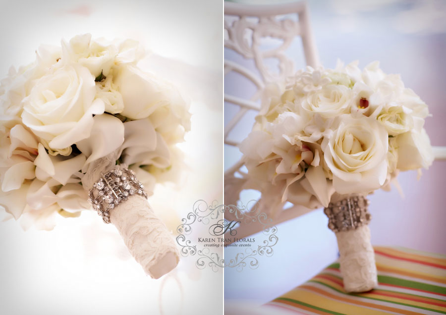 Classic Ivory Bridal Bouquet Wrapped With Lace And Crystals