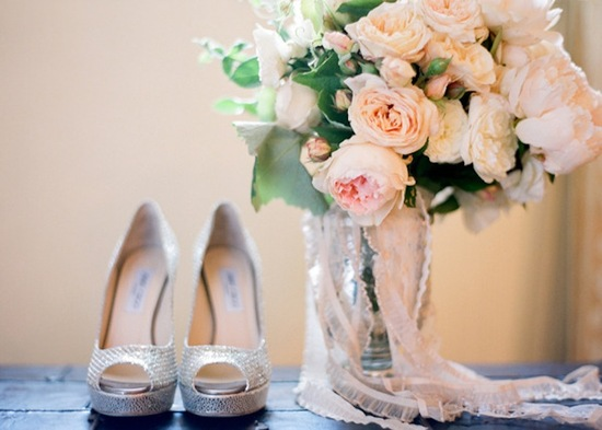 Romantic Wedding Bouquet wrapped in lace with silver Jimmy Choo bridal heels