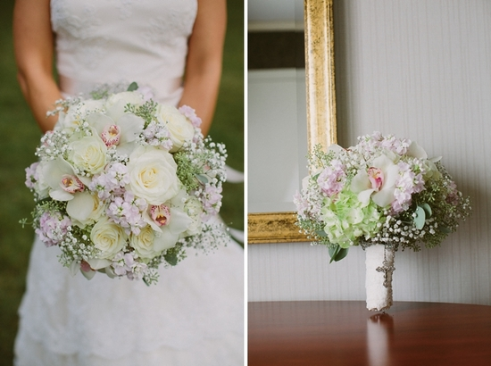 Romantic Wedding Bouquet with Ivory Roses Orchids Babys Breath