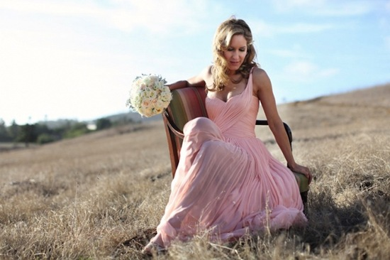 Bride Wears Pink One Shoulder Wedding Dress