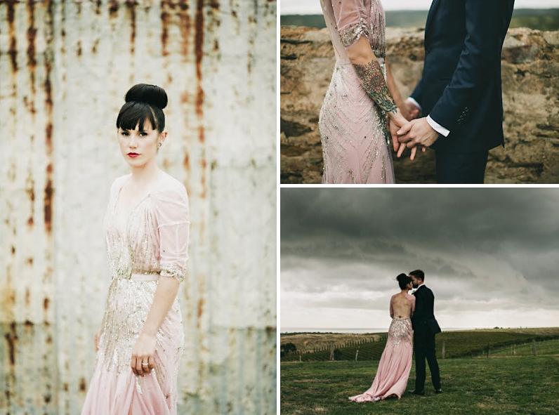 Pink beaded wedding dress rock n roll bride for Rock n roll wedding dress