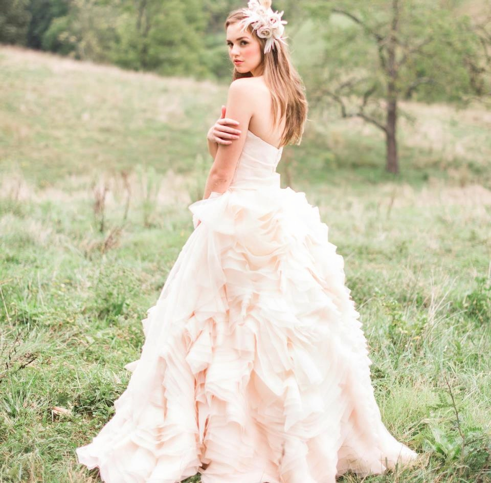 light pink romantic wedding dress
