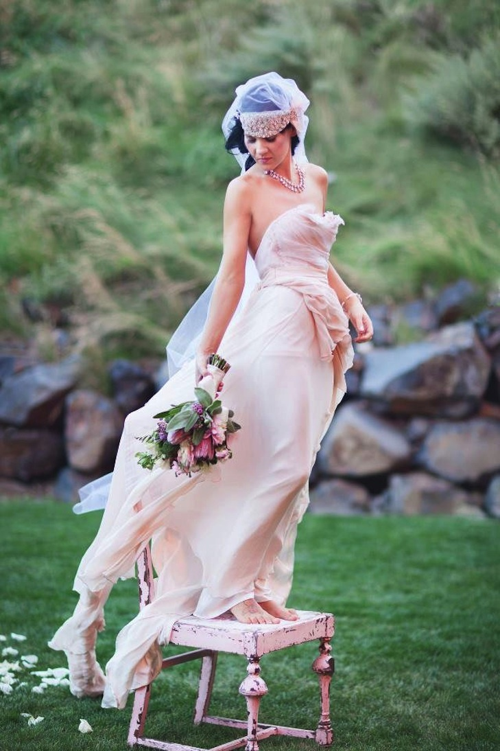Handmade pink wedding dress for romantic bohemian brides for Romantic bohemian wedding dresses