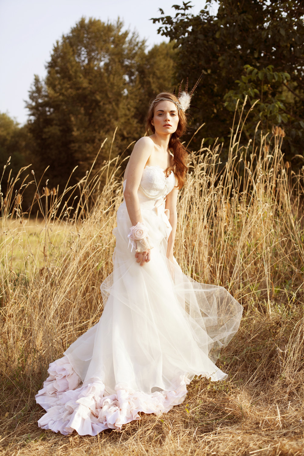 Bohemian tulle light pink wedding dress for Wedding dress with lights