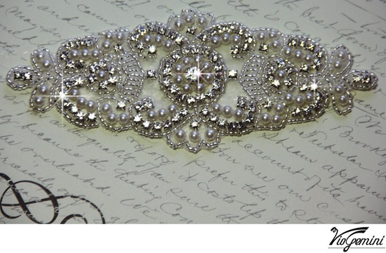 DIY bridal sash with crystals and rhinestones