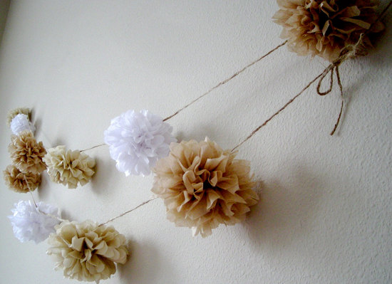 DIY Pom Garland for Elegant Beach Weddings