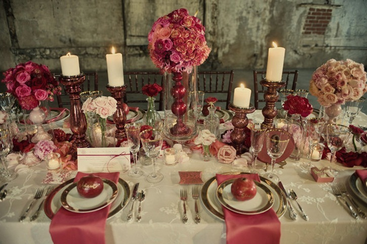 Romantic Wedding Reception Inspiration Vintage Valentine Red and Pink