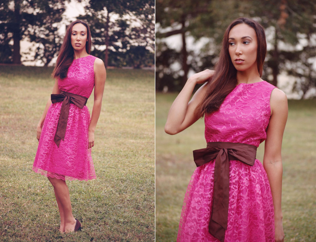 Hot Pink Lace Bridesmaid Dress with Maroon Sash