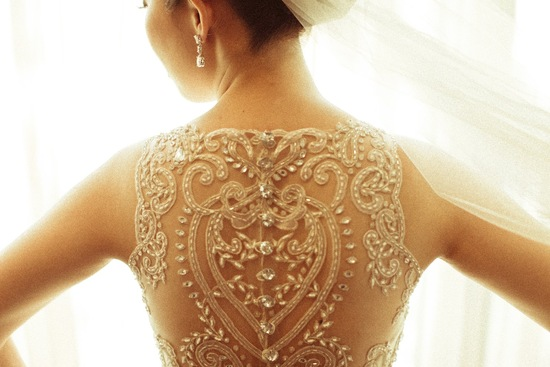 Statement Back Wedding Dress with Crystal Covered Buttons