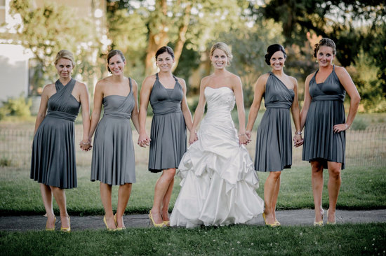 Convertible Bridesmaid Dress Silver Gray