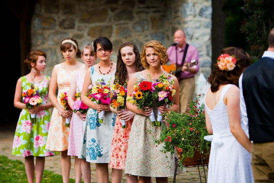 Pretty Floral Bridesmaid Frocks for Outdoor Weddings