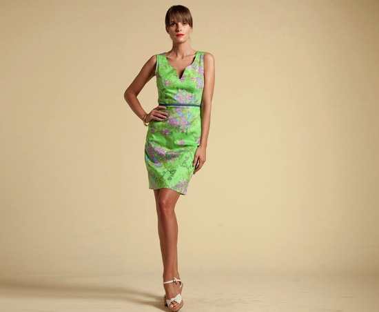 Bright Lime with Lilac Flowers Bridesmaid Dress