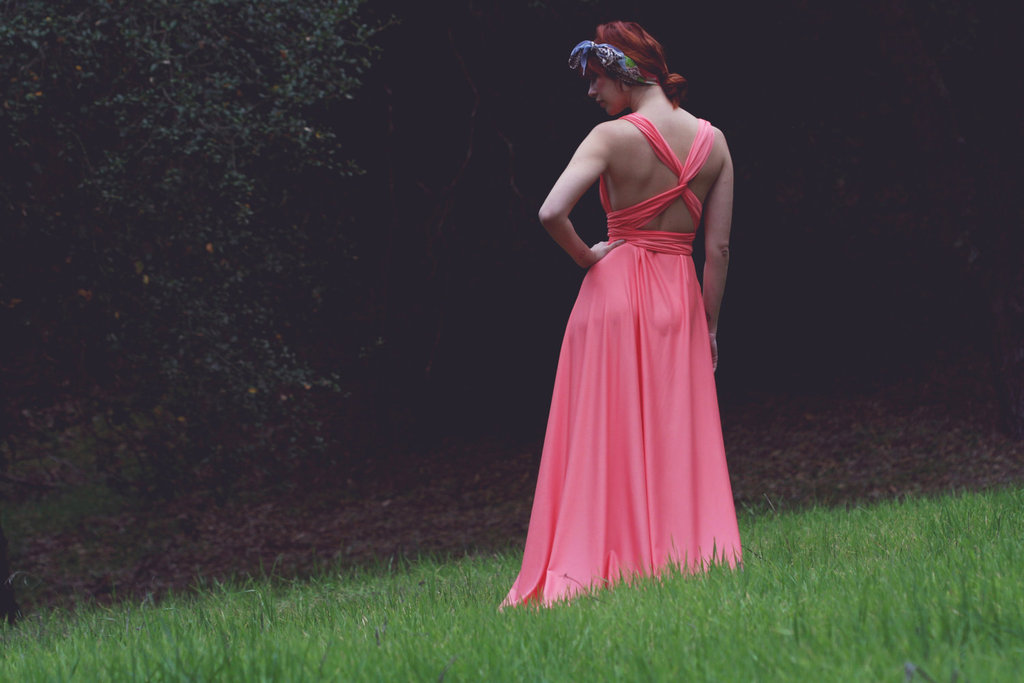 Neon-coral-long-bridesmaid-gown.full