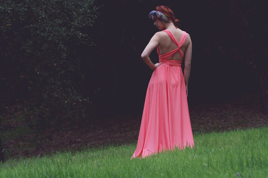 Neon Coral Long Bridesmaid Gown