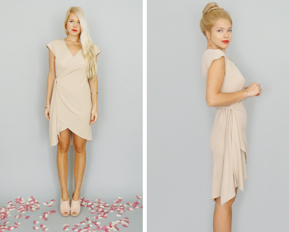 Simple-beige-bridesmaid-dress-with-cap-sleeves.full