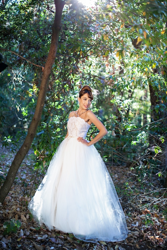 Classic ballgown wedding dress with nude white lace corset