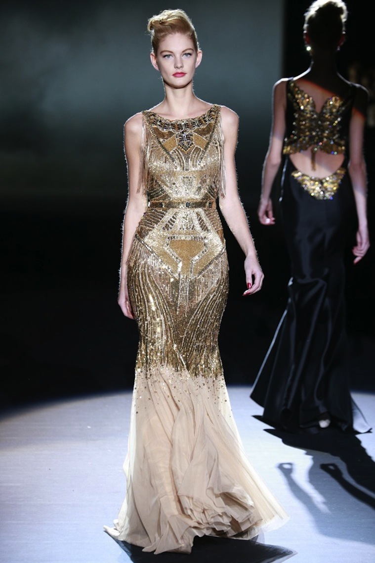 Gold beaded bridal gown inspiration art deco for Wedding dresses with gold beading