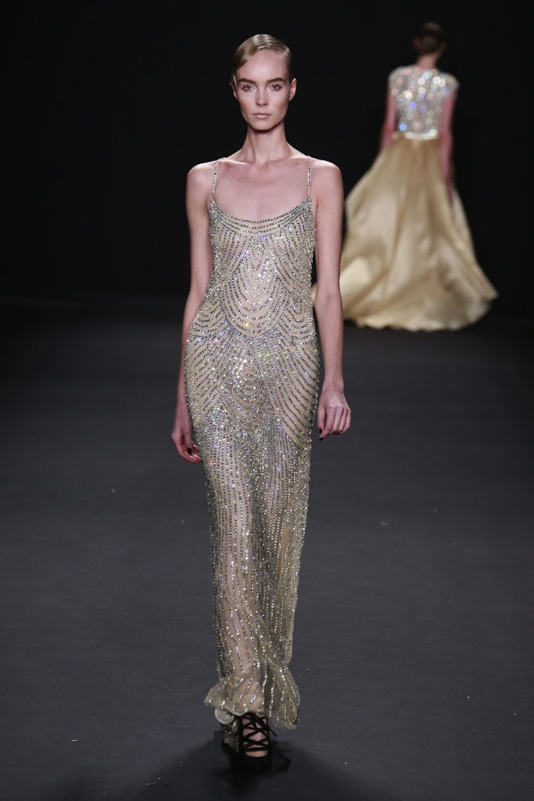 Vintage inspired beaded wedding gown by naeem khan for Beaded vintage style wedding dresses