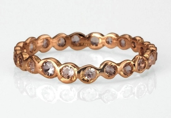 Rose Gold with Diamonds Wedding Band