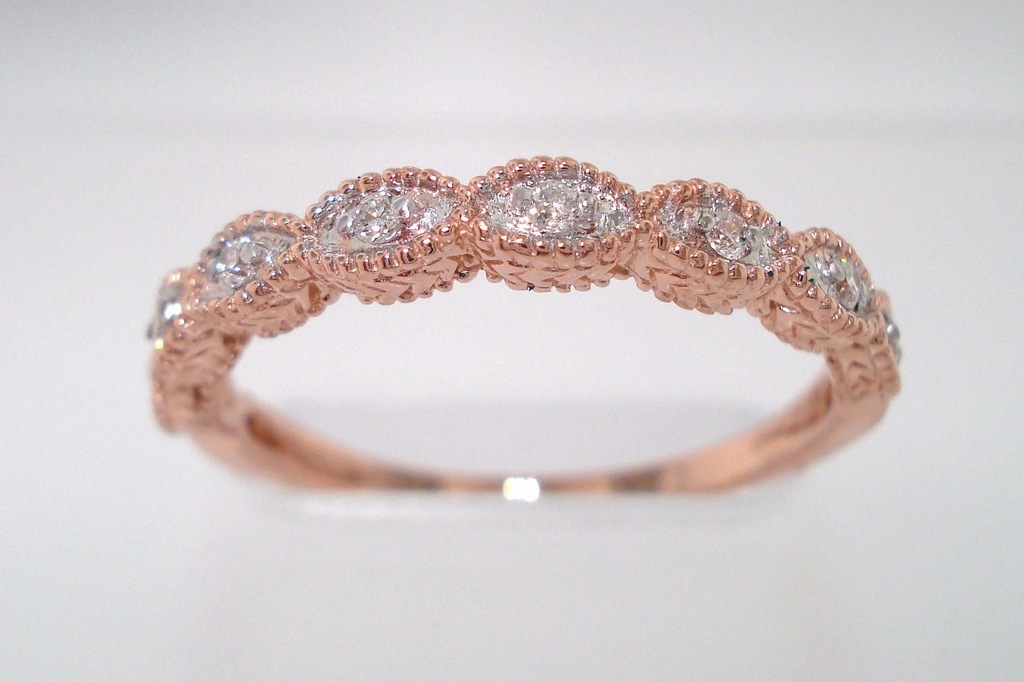Rose Gold Brides Wedding Band with Diamonds