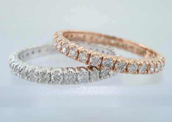 Rose and White Gold Wedding Bands with Diamonds