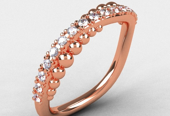 Unique Rose Gold Womens Wedding Band