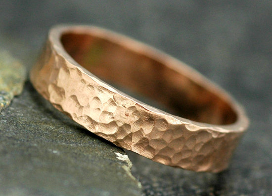 Hammered Rose Gold Wedding Band for Grooms