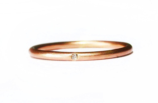 Delicate Rose Gold Brides Wedding Band