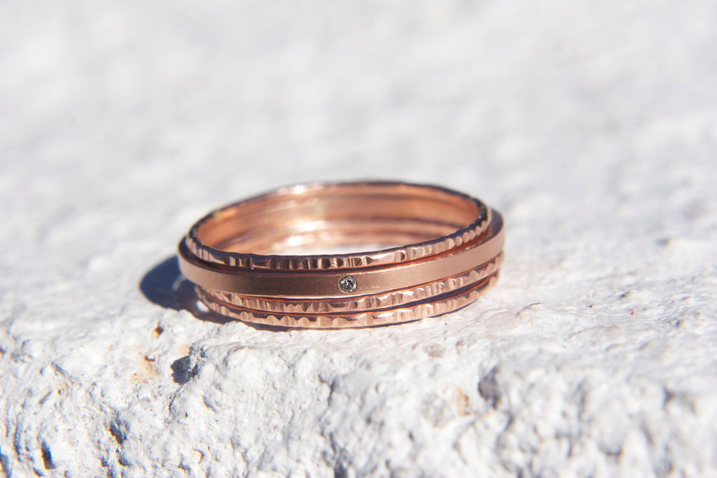 Thin and Stackable Rose Gold Wedding Bands