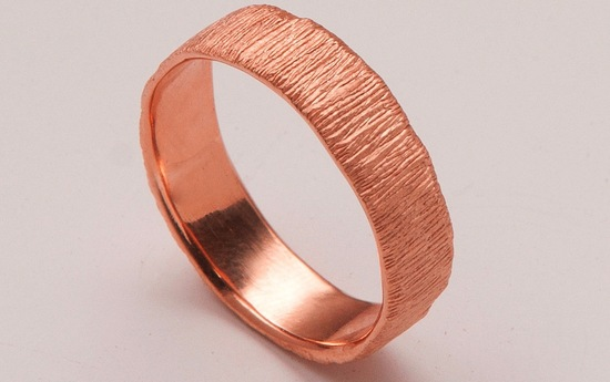 Textured Rose Gold Mens Wedding Band