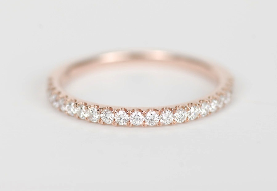 elegant rose gold and diamond womens wedding band onewed com