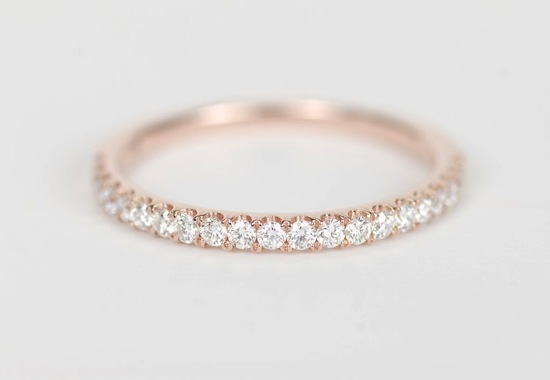 Elegant Rose Gold and Diamond Womens Wedding Band